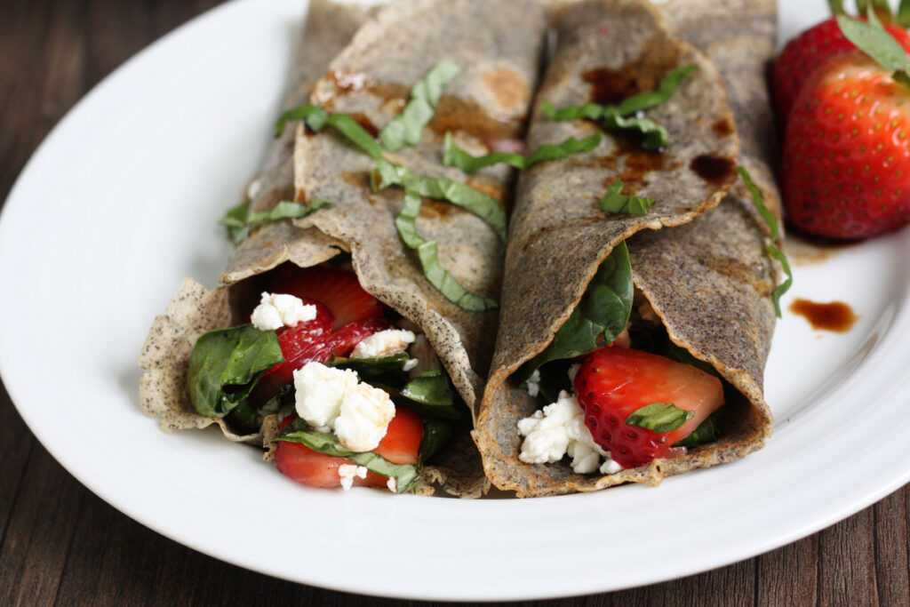 Two buckwheat crepes with savory filling.