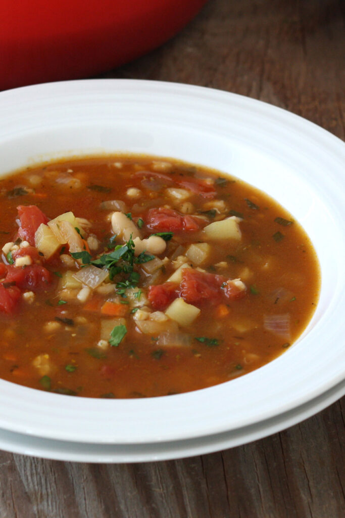 Close up view of vegetable barley soup.