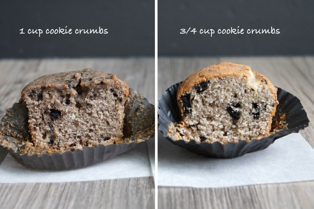 Comparison of two Oreo cupcakes made with different amounts of Oreo.