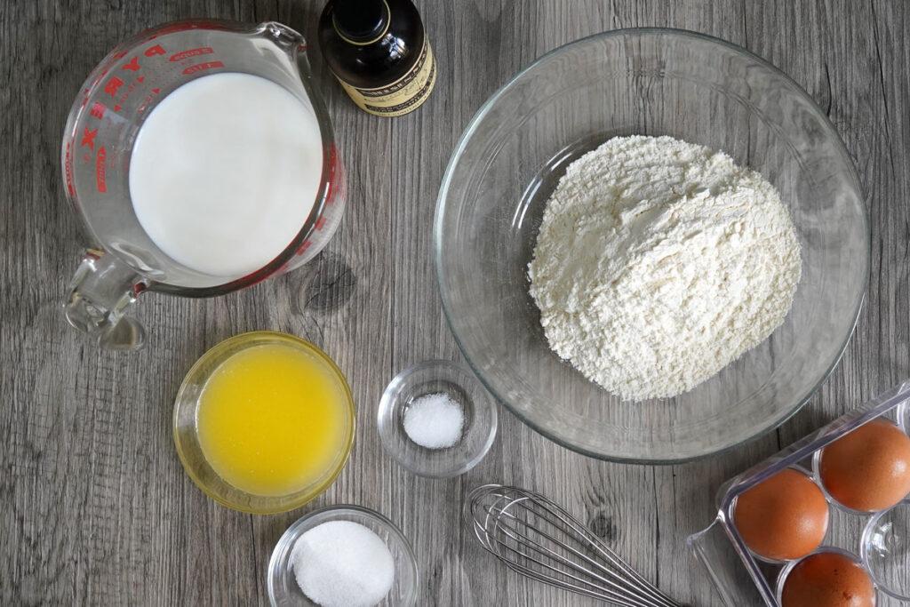 Crepe ingredients: milk, flour, eggs, butter, salt, sugar.