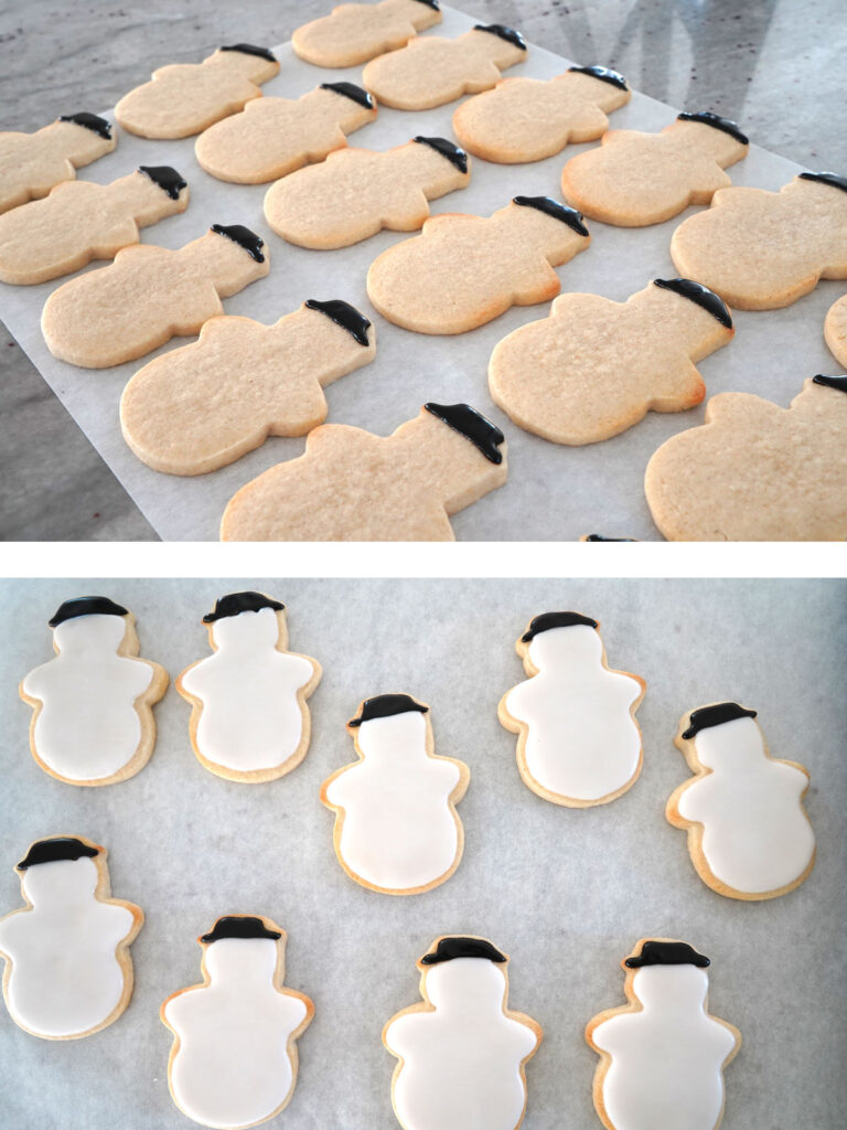 Snowman cookies with hats iced. Second photo showing body iced after the hats.