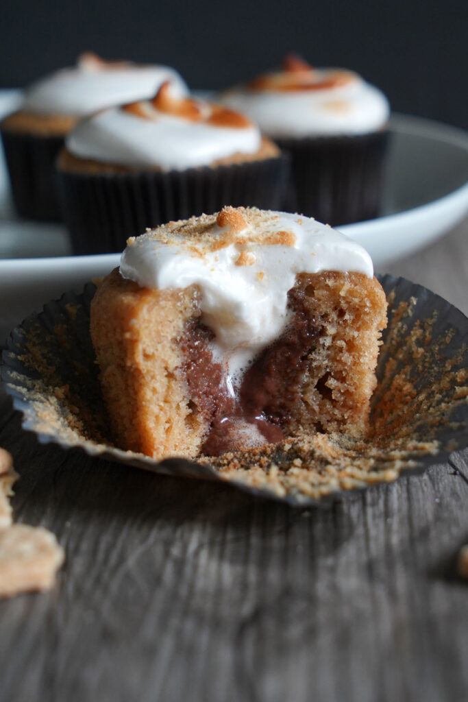 Inside of smores cupcakes showing ganache filling.