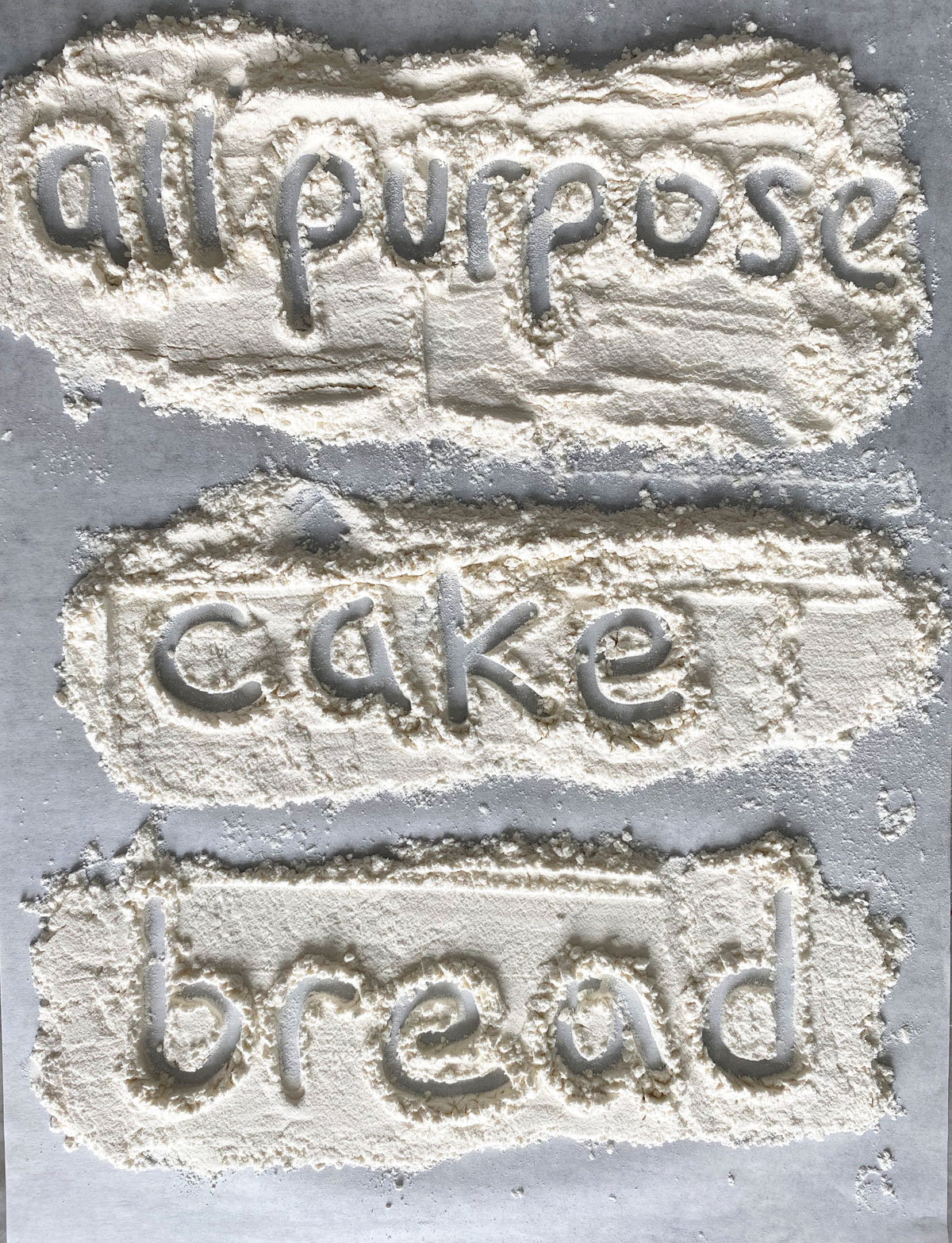 "Words ""all purpose"" ""cake"" and ""bread"" written in flour on parchment paper."