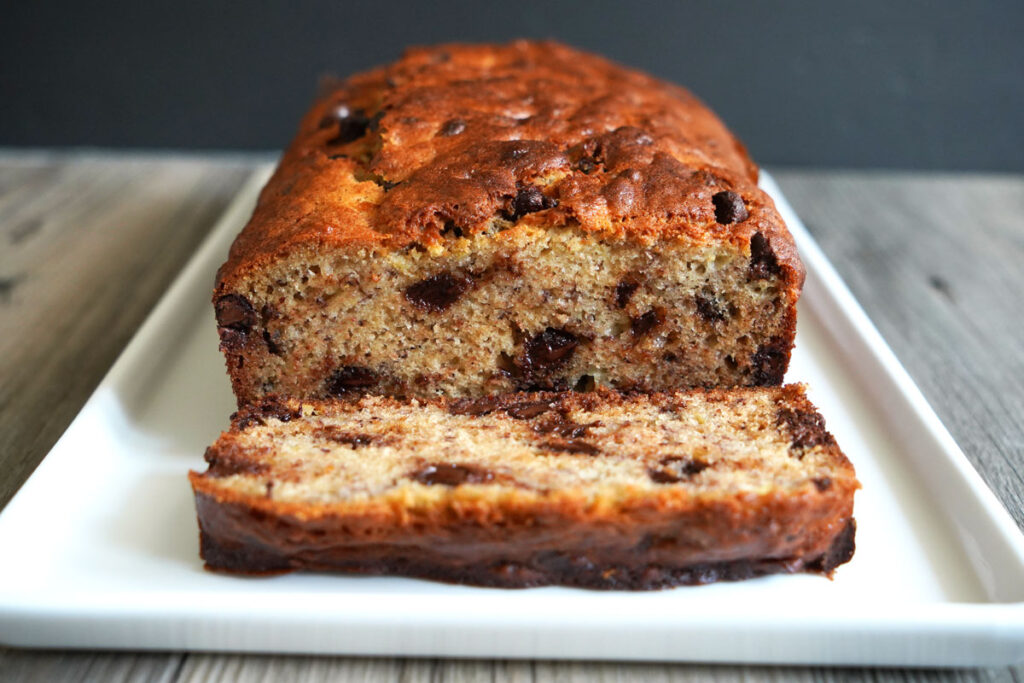 View of sliced chocolate chip banana bread loaf